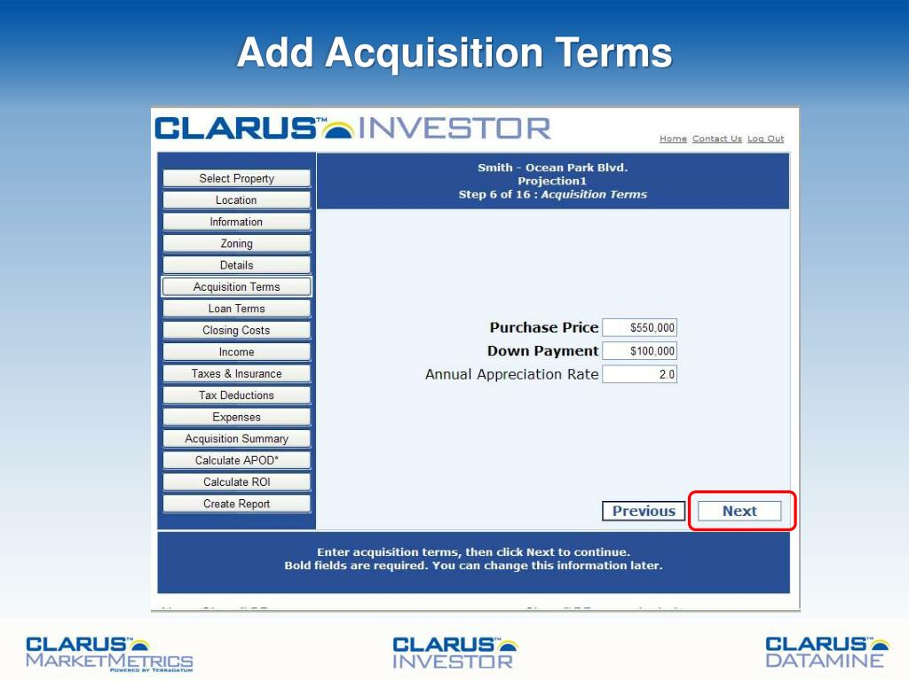 Add Acquisition Terms
