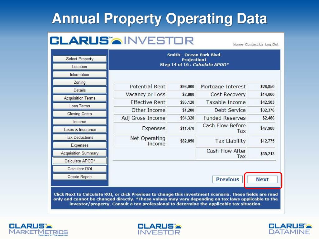 Annual Property Operating Data