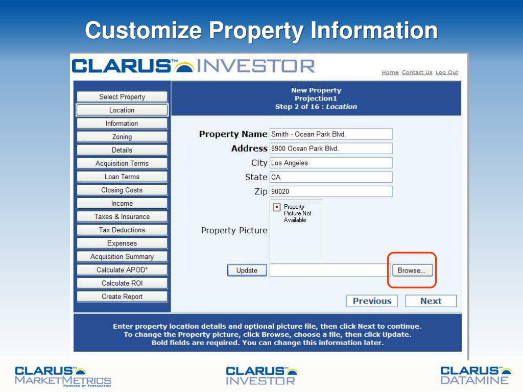 Customize Property Information