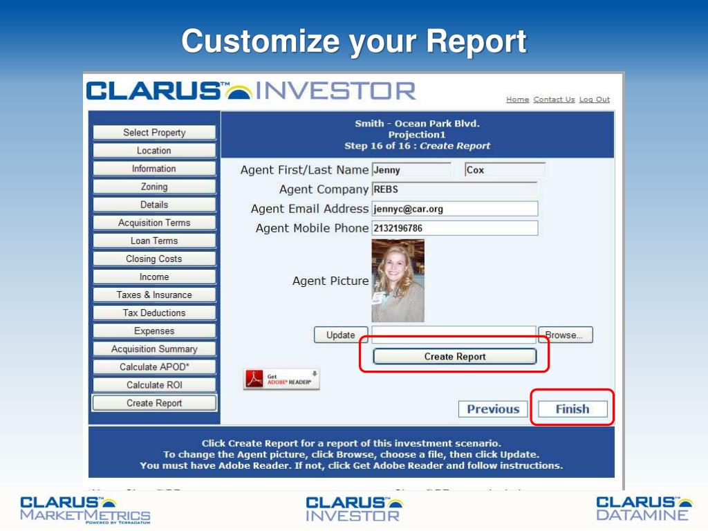 Customize your Report