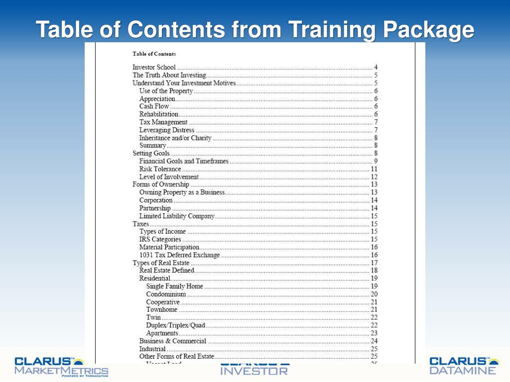 Table of Contents from Training Package