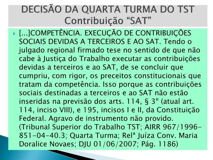 DECISÃO DA QUARTA TURMA DO TST