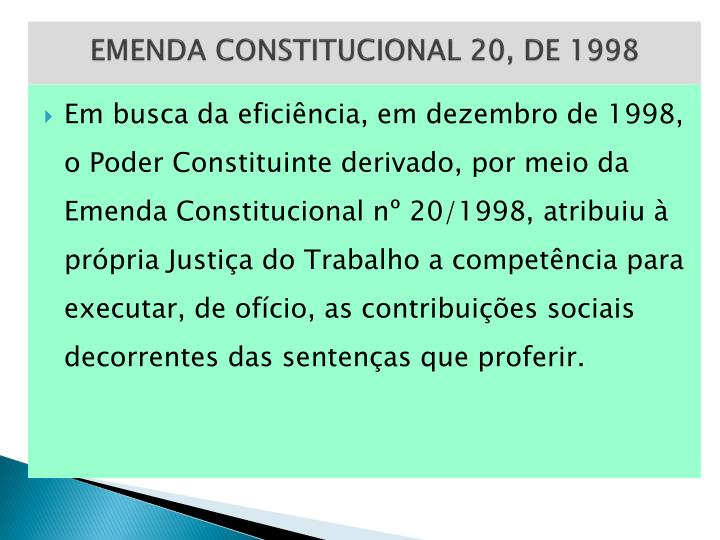EMENDA CONSTITUCIONAL 20, DE 1998