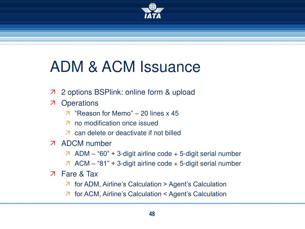 ADM & ACM Issuance