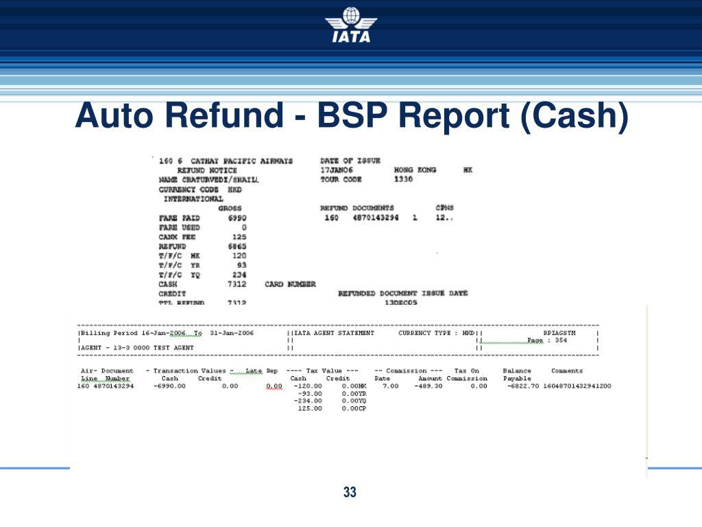 Auto Refund - BSP Report (Cash)