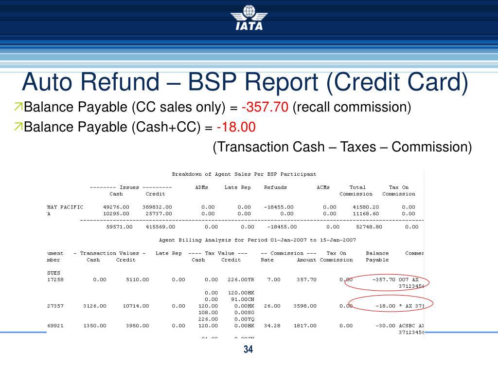 Auto Refund – BSP Report (Credit Card)