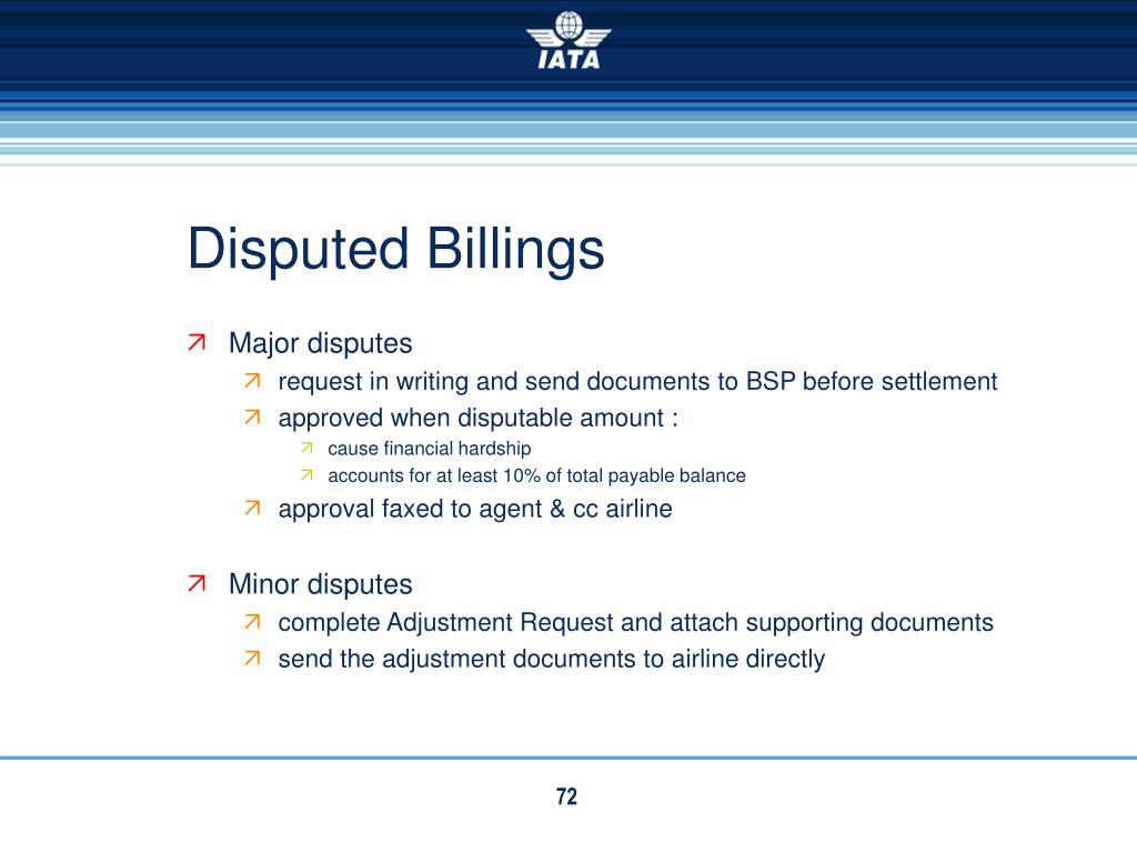 Disputed Billings