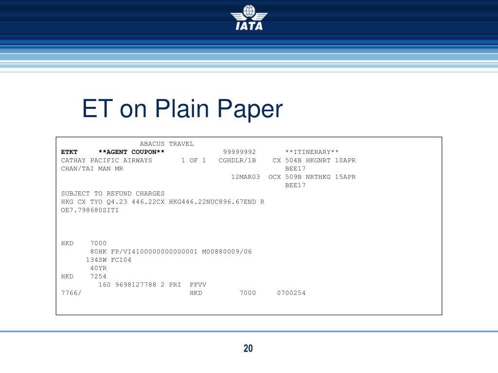 ET on Plain Paper