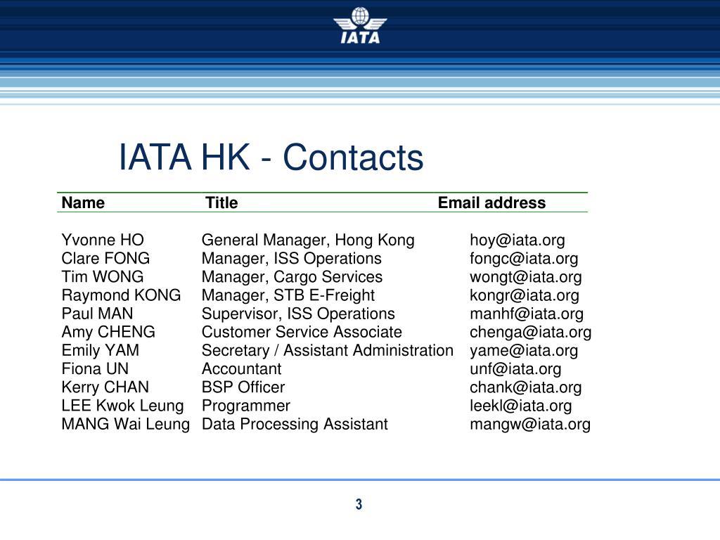 IATA HK - Contacts