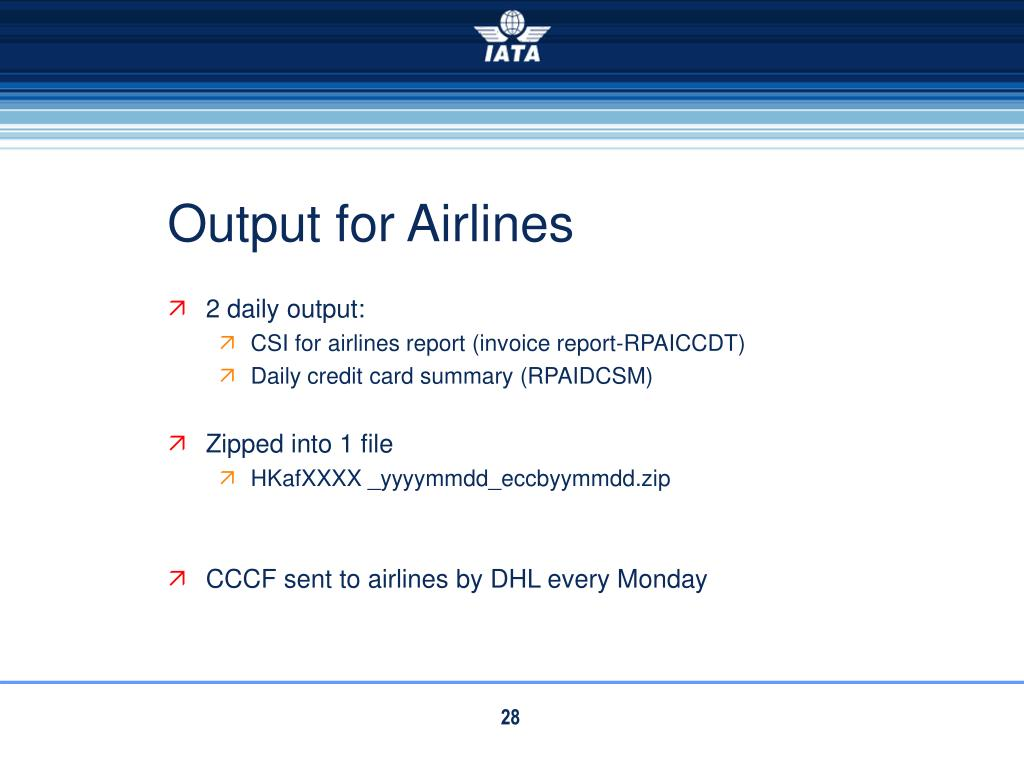 Output for Airlines