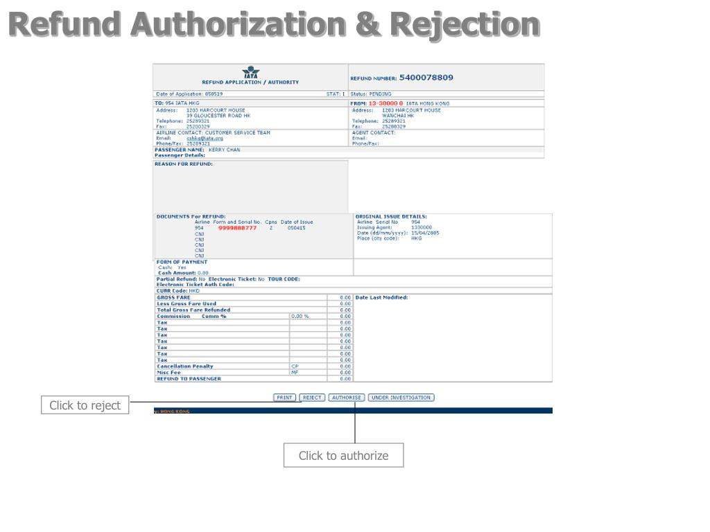 Refund Authorization & Rejection