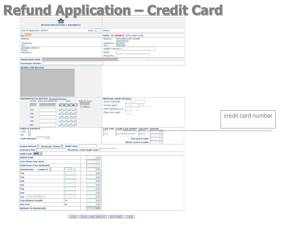 Refund Application – Credit Card