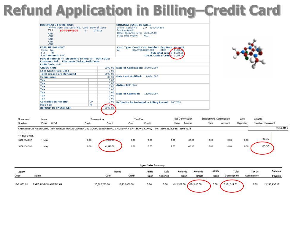 Refund Application in Billing–Credit Card