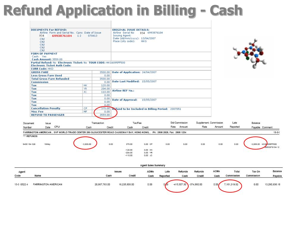 Refund Application in Billing - Cash