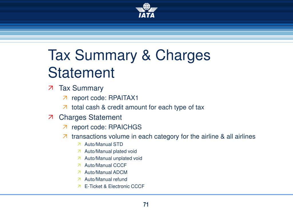 Tax Summary & Charges Statement