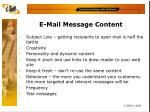 e mail message content