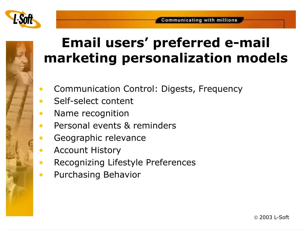 Email users' preferred e-mail marketing personalization models