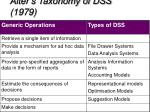 alter s taxonomy of dss 1979