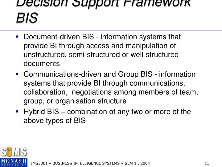 Decision Support Framework BIS