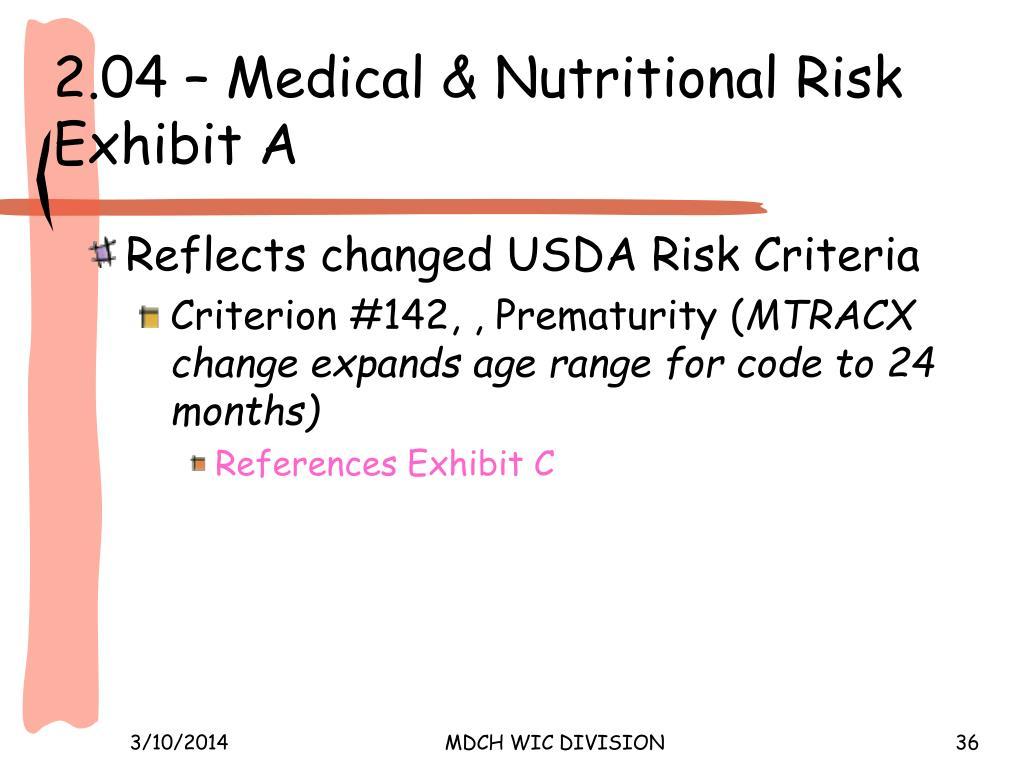 2.04 – Medical & Nutritional Risk