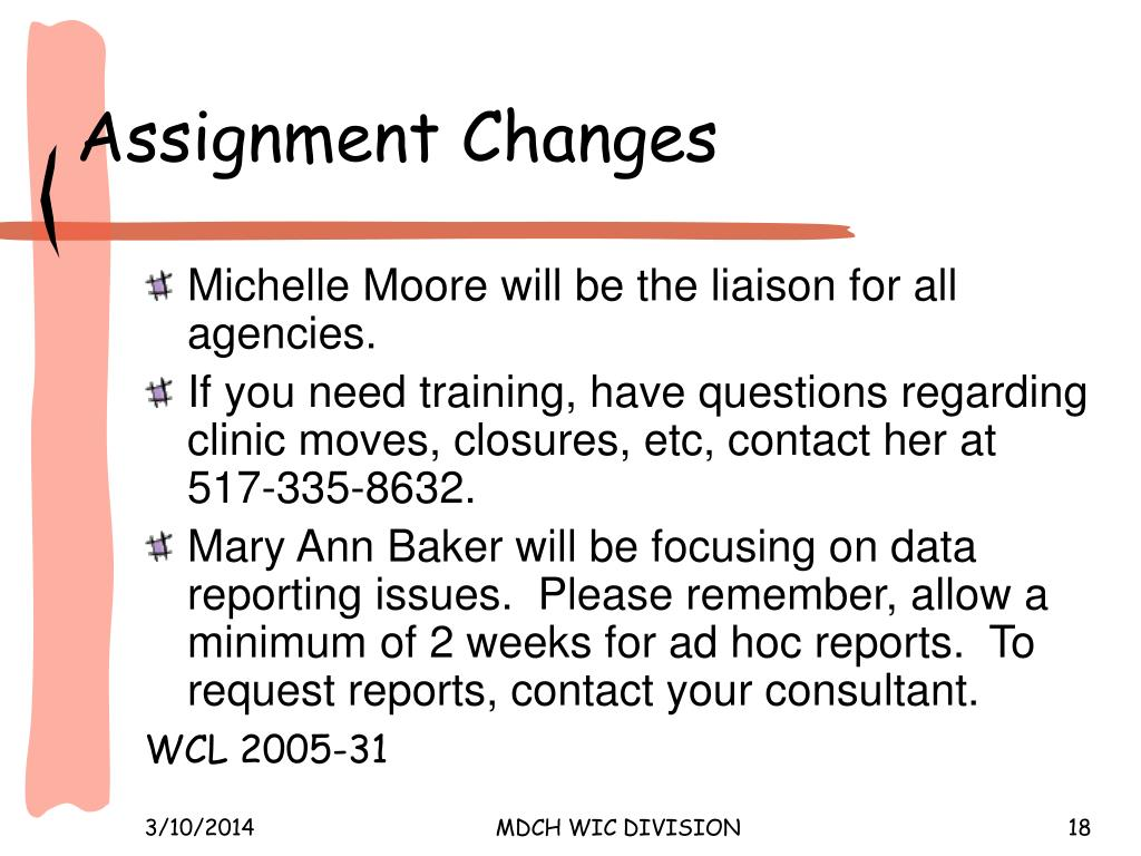 Assignment Changes