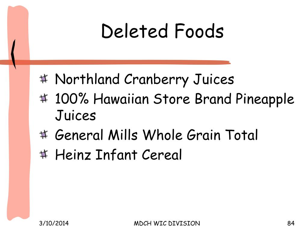 Deleted Foods