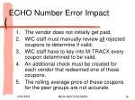 echo number error impact