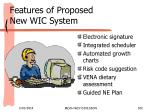 features of proposed new wic system102