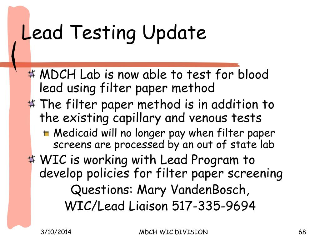 Lead Testing Update
