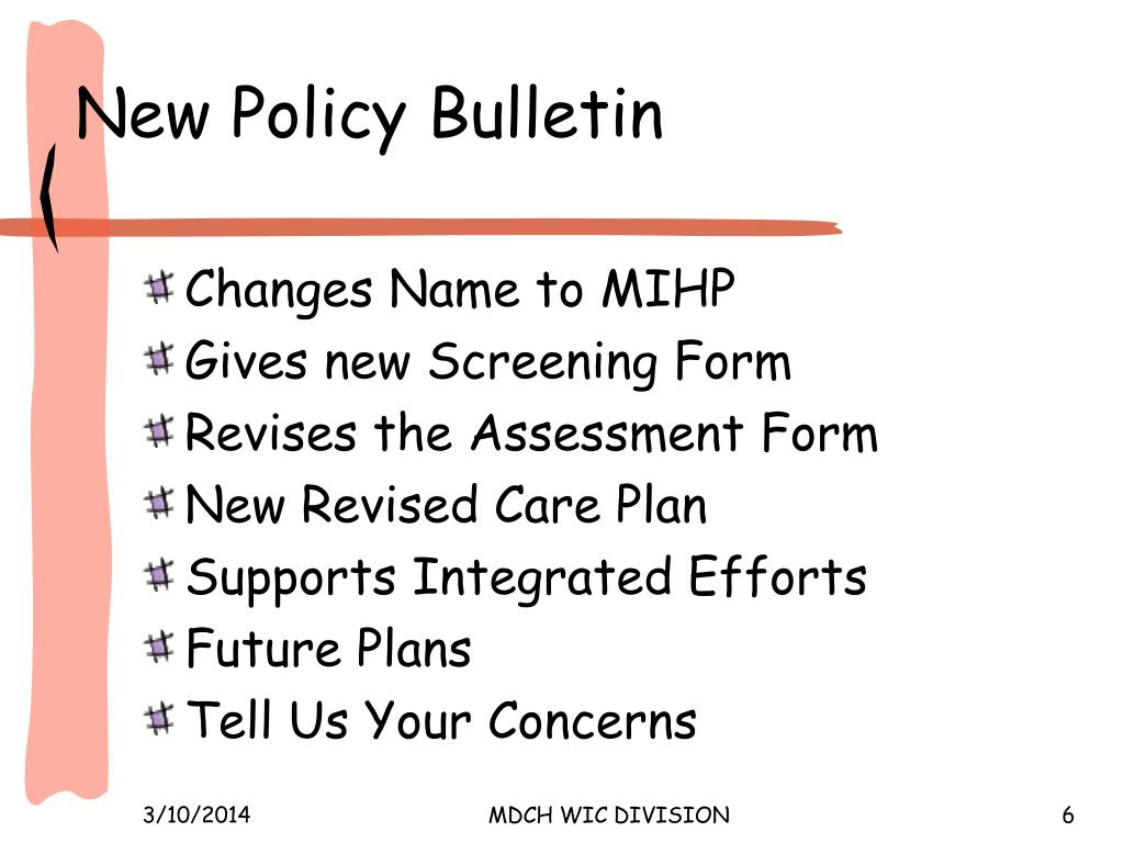 New Policy Bulletin