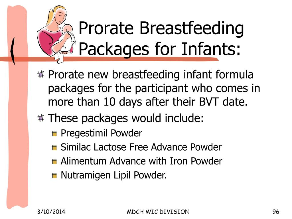 Prorate Breastfeeding Packages for Infants: