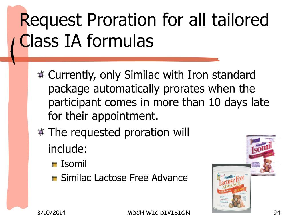 Request Proration for all tailored Class IA formulas