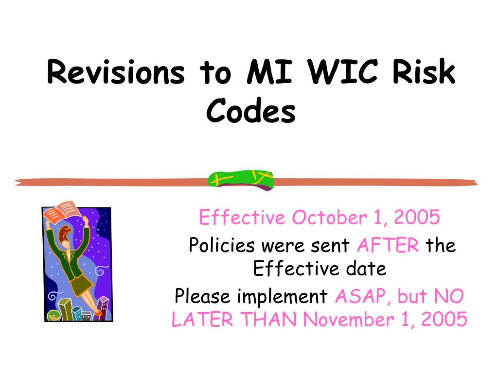 Revisions to MI WIC Risk Codes