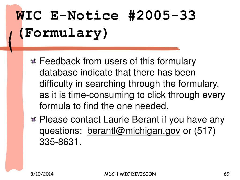 WIC E‑Notice #2005‑33 (Formulary)