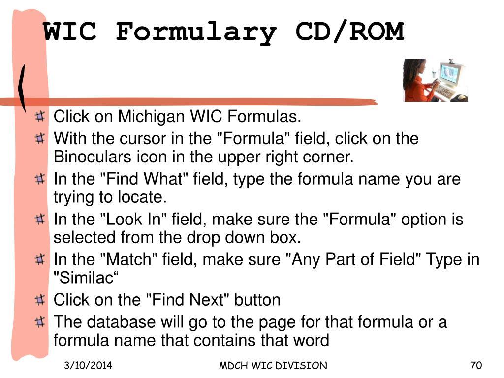WIC Formulary CD/ROM