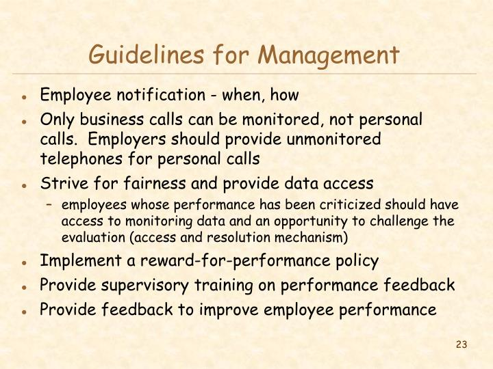 Guidelines for Management