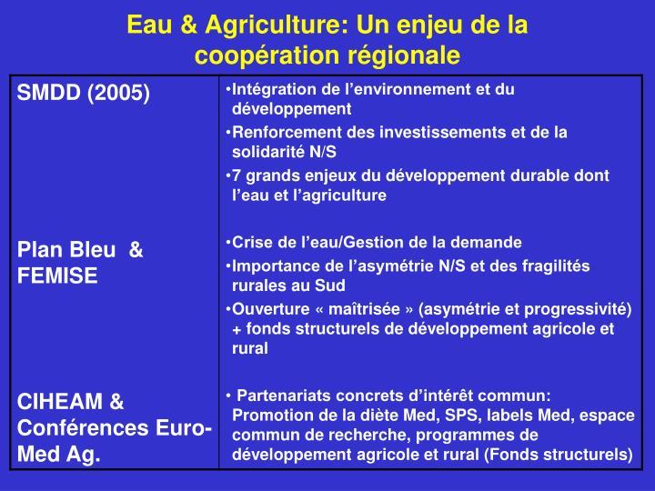 Eau & Agriculture: Un enjeu de la coopération régionale