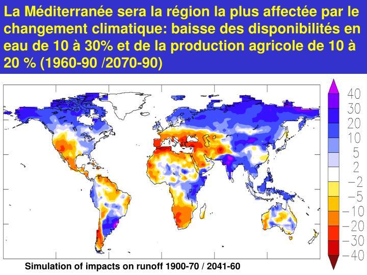La Méditerranée sera la région la plus affectée par le changement climatique: baisse des disponibilités en eau de 10 à 30% et de la production agricole de 10 à 20 % (1960-90 /2070-90)