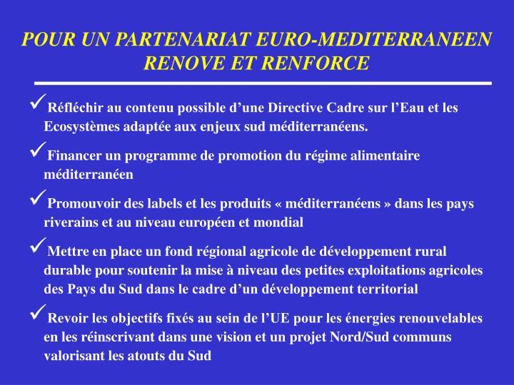POUR UN PARTENARIAT EURO-MEDITERRANEEN RENOVE ET RENFORCE