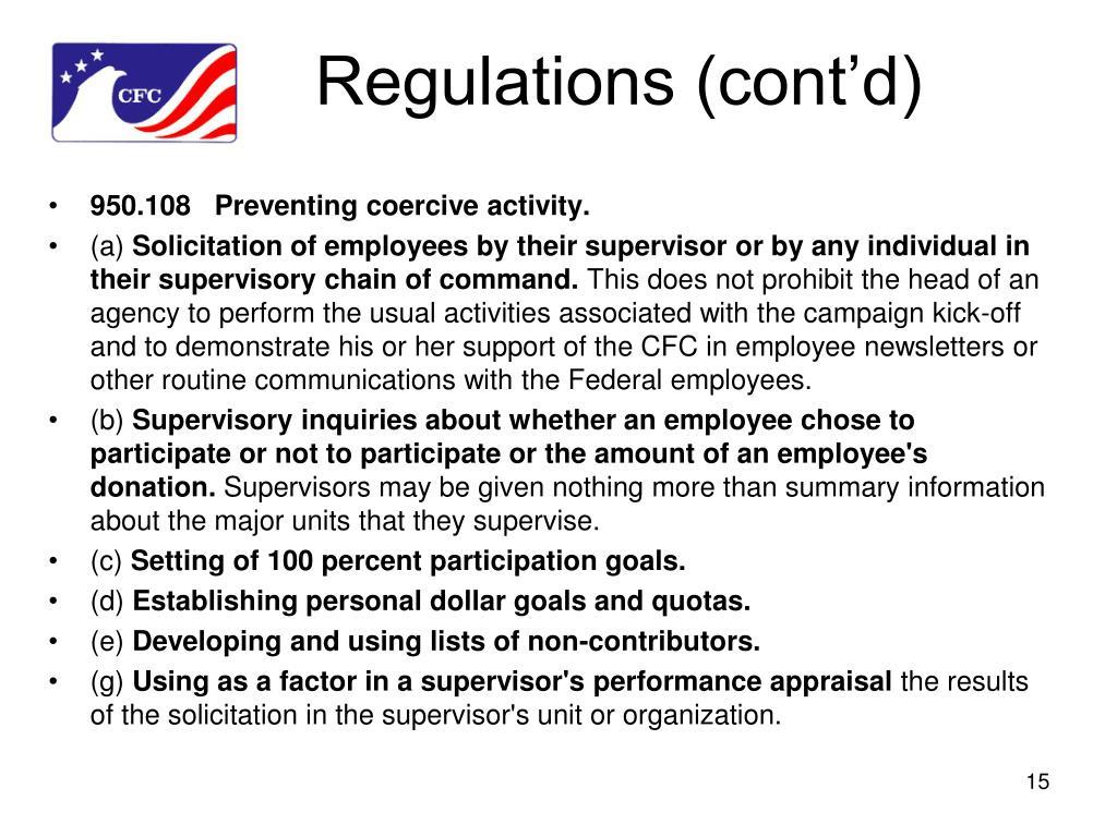 Regulations (cont'd)