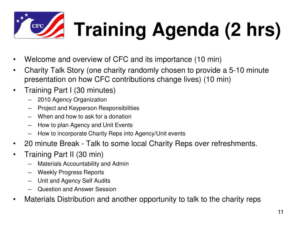 Training Agenda (2 hrs)