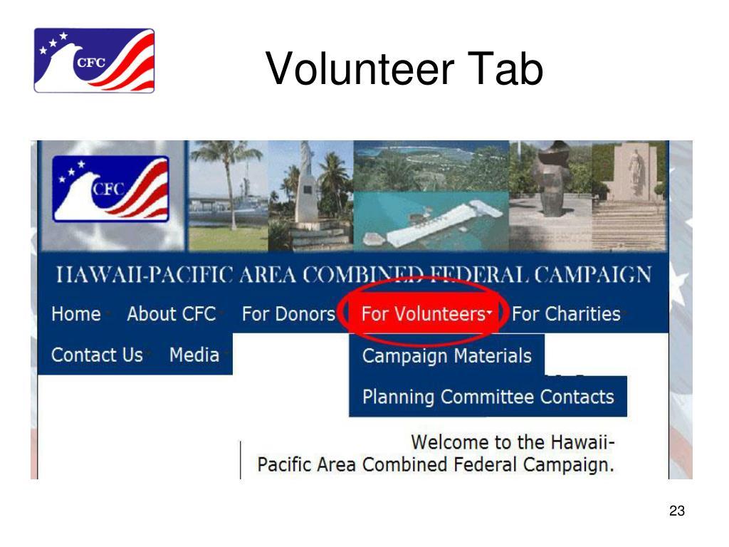 Volunteer Tab