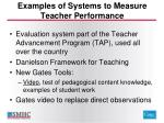examples of systems to measure teacher performance