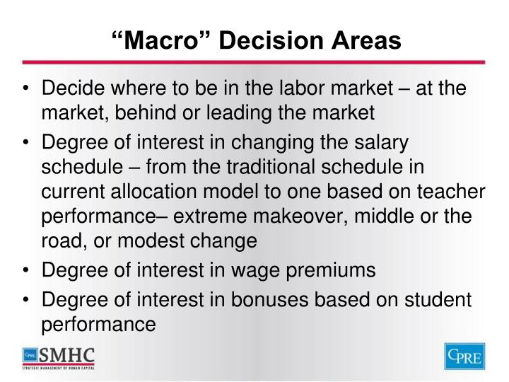 """Macro"" Decision Areas"