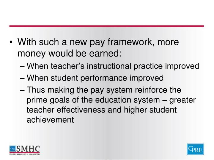 With such a new pay framework, more money would be earned: