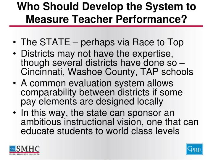 Who Should Develop the System to Measure Teacher Performance?