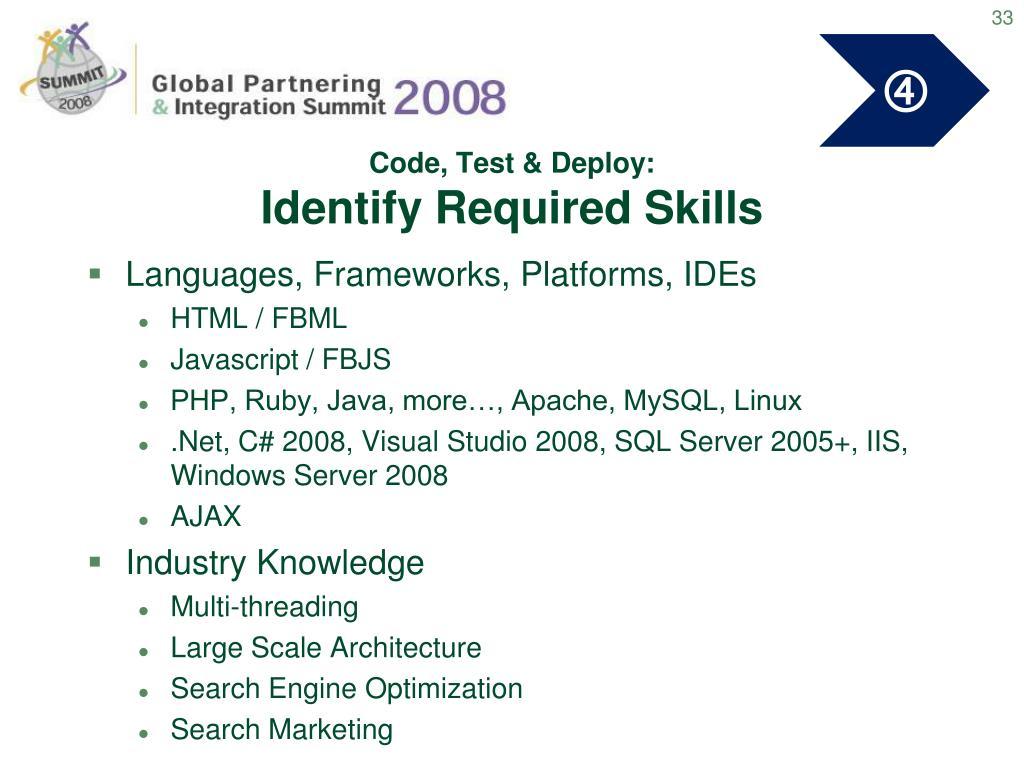 Code, Test & Deploy: