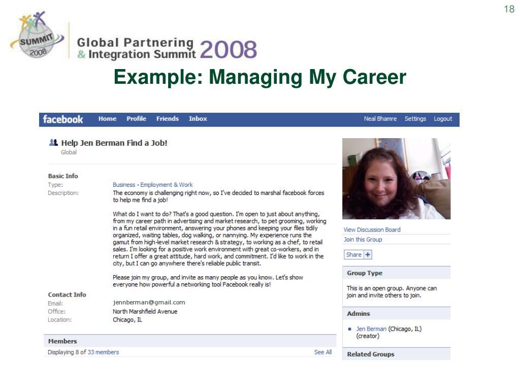 Example: Managing My Career