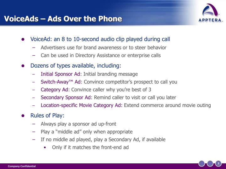 Voiceads ads over the phone