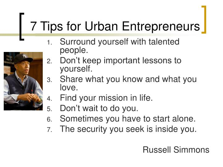 7 Tips for Urban Entrepreneurs